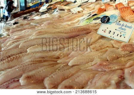 Valras-plage, Herault, France - Aug 25 2017: Fillets Of Sea Bream (dorade Sébaste) For Sale In A Fis
