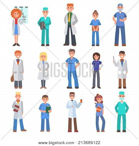 Different doctors people profession specialization nurses and medical staff people hospital character vector illustration. Medico person physician intern medic specialist.