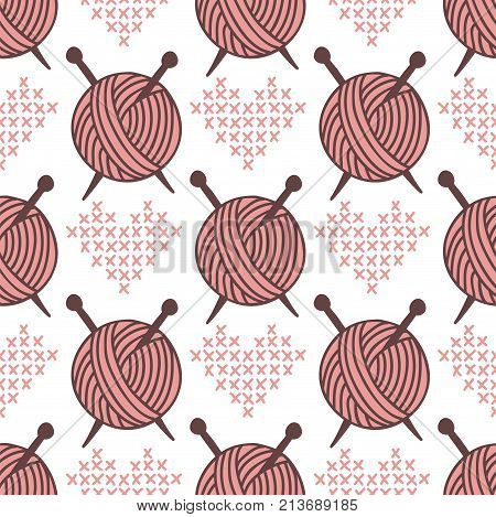 Yarn clew ball seamless pattern sewing wrapping woven paper background craft homemade fabric print handmade needlework roll backdrop wallpaper vector illustration.