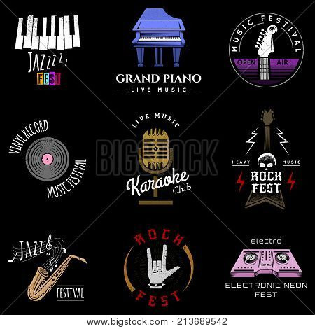 Music festival badge logo lettering made recording studio labels hipster style vintage musical element sound production logotype vector illustration. Grunge punk jazz musician sticker.