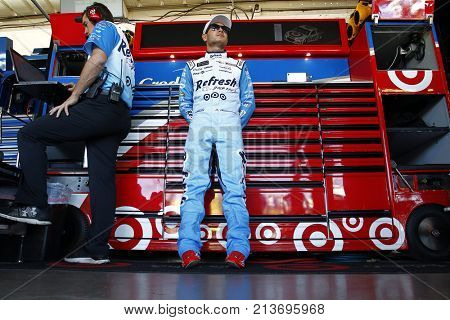 November 10, 2017 - Avondale, Arizona, USA: Kyle Larson (42) hangs out in the garage during practice for the Can-Am 500(k) at Phoenix Raceway in Avondale, Arizona.