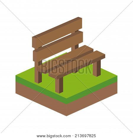Bench of isometric 3d and structure theme Isolated design Vector illustration