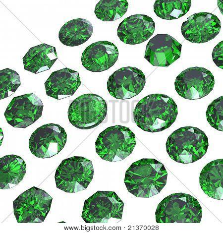 Round gemstone  isolated on white.Eemerald.Peridot