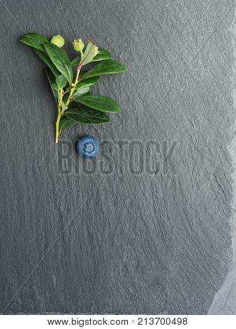 Fresh Blueberry with leaves on dark stone background. Flat lay top view.