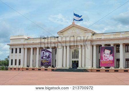 Managua Nicaragua - August 11 2015: National Palace building in Managua Nicaragua. Central America