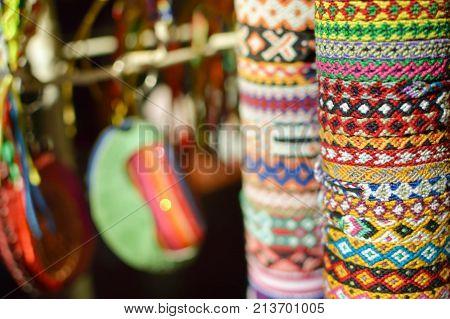 Colorful friendship bracelets sold at famous Masaya Market (Mercado de Artesanias de Masaya) in Nicaragua