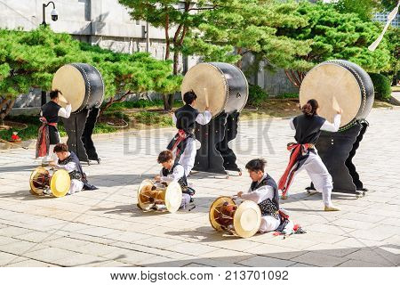 Performance With Korean Traditional Drums, Seoul, South Korea