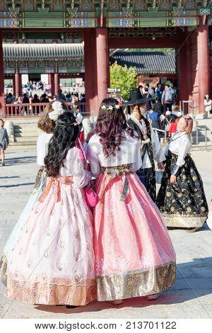 Girls Wearing Korean Traditional Dress Hanbok, Gyeongbokgung