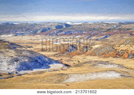 winter scenery in Red Mountain Open Space in northern Colorado with impressionist digital painting effect