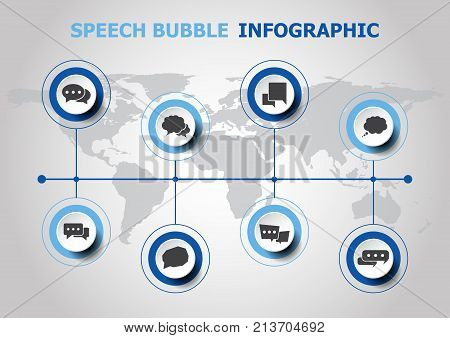 Infographic design with speech bubble icons, stock vector
