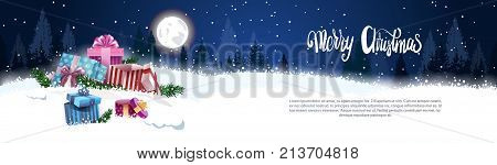 Christmas Banner With Nigth Winter Forest Gift Boxes In Snow Landscape Holidays Decoration Concept Flat Vector Illustration