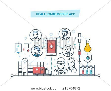 Healthcare mobile app. Mobile service. Medical healthcare, mobile consultant. Diagnosis diseases, patient care, online medical consultation, service. Illustration thin line design of vector doodles.