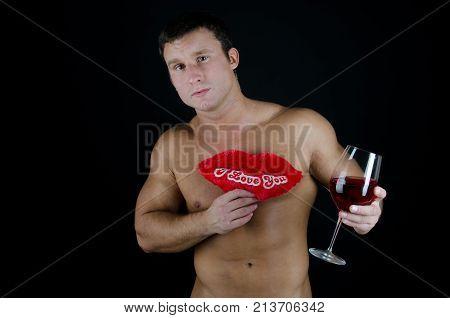 Love. Romantic guy. Valentine's Day. Celebration. Sexy guy and Valentine's Day.