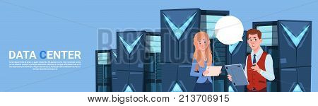 Business Man And Woman Working On Digital Tablet In Modern Database Center Or Server Room Businessman And Businesswoman Engeneer Flat Vector Illustration