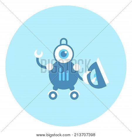 Robot Holding Iron Icon Modern Housework Technology Vector Illustration