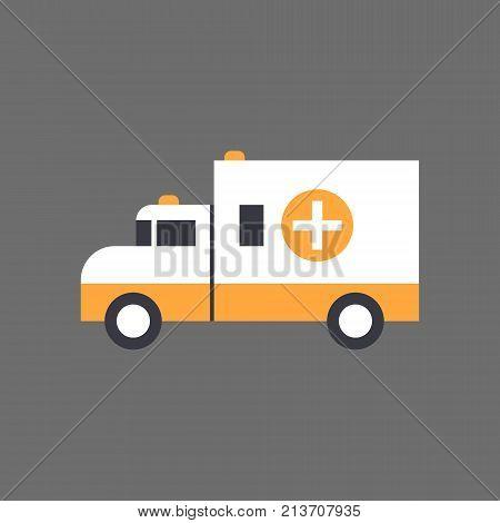 Ambulance Car Emergency Vehicle Icon Flat Vector Illustration