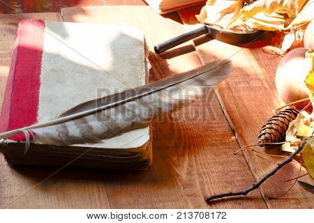 Feather pen with inkwell and old book of fairy taleson on wooden table closeup