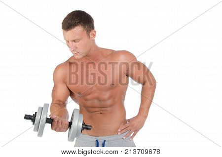 Fitness and healthy lifestyle. Man and training with dumbbells. White background.