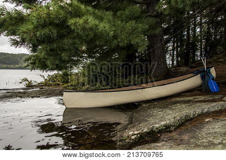 Canada Ontario Lake two rivers white blank Canoe Canoes parked on island in Algonquin National Park