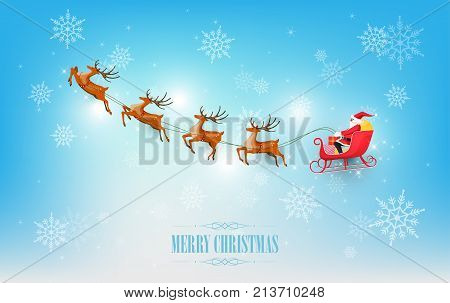 Merry Christmas and Happy New Year, Santa Claus drives sleigh with reindeer on snowflake background, flat cartoon style, vector illustration