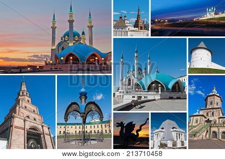 Collage of diferent place Kazan city. Russia
