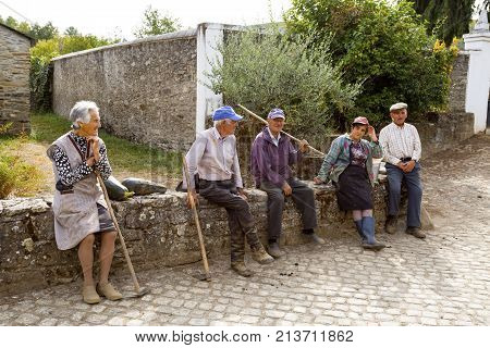 RIO DE ONOR, PORTUGAL - September 21, 2017: Inhabitants of Rio de Onor are mostly elderly people who live a communal life in a rural and remote region of Braganca Northern Portugal