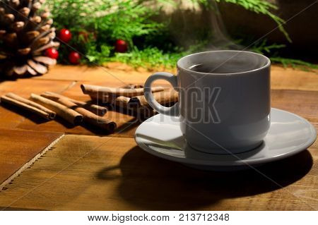Coffe Cup And Christmas Tree Decoration..