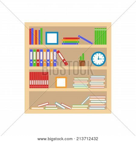 Bookshelf with books and folder. Home library. Wooden shelf isolated on white background. Vector illustration.