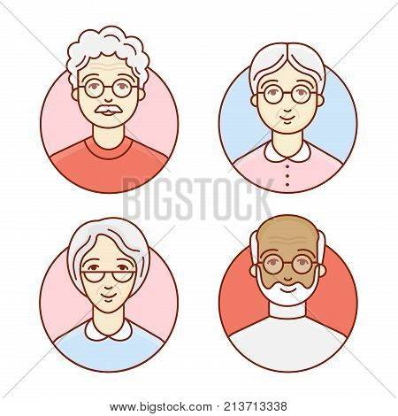 The set of elderly people. Portrait of a pensioners. Avatar of the grandfathers and grandmothers. Vector linear illustration