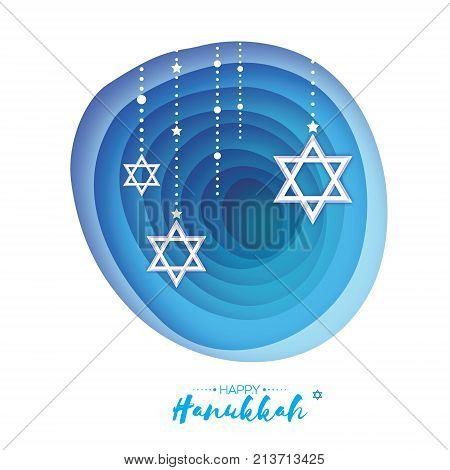 Origami Star of David. Happy Hanukkah. Shining stars. Greeting card for the Jewish holiday on blue background with garland. Hanuka Circle tonnel frame. paper cut style. Origami cave. Vector