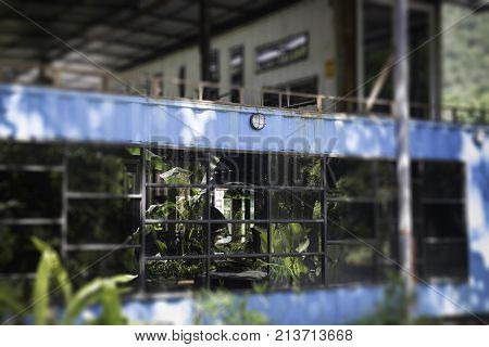 Weathered rusty steel interior room container stock photo