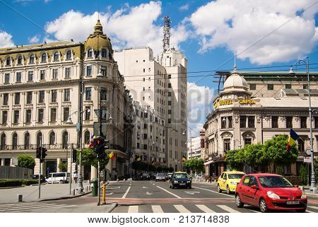 Bucharest, Romania - July 29, 2017: A Crossroad In The Center Of Bucharest, Big Elegant Modern Build