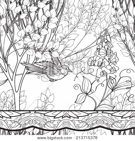 Seamless pattern, background with decorative flowers and bird in art nouveau style, vintage, old, retro style. Outline drawing.. Stock vector illustration.