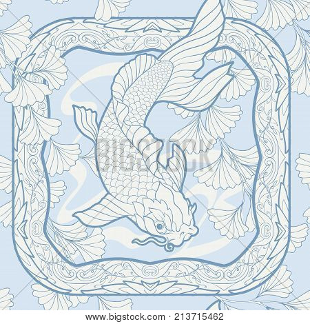 Seamless pattern, background with decorative flowers and carp fish in art nouveau style, vintage, old, retro style. Stock vector illustration.