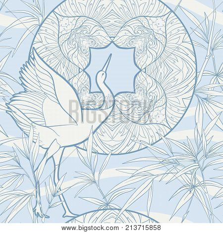Seamless pattern, background with decorative flowers and bird in art nouveau style, vintage, old, retro style. Stock vector illustration.
