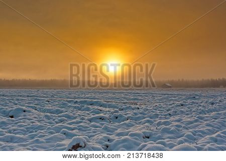 The winter sun rises above the snowy fields of the Northern Finland. The snow has covered the barns and fields.