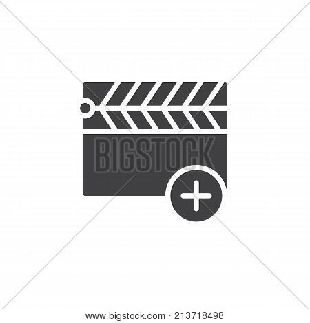 Add clapper icon vector, filled flat sign, solid pictogram isolated on white. Movie clapboard with plus symbol, logo illustration.