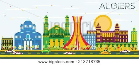 Algiers Skyline with Color Buildings and Blue Sky.