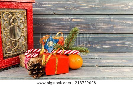 Christmas Decor With Presents, Cane Candy, Orange And Pine Cone