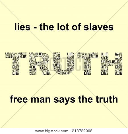 Yellow background with black lie and truth words