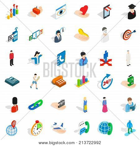 Sportsman icons set. Isometric style of 36 sportsman vector icons for web isolated on white background