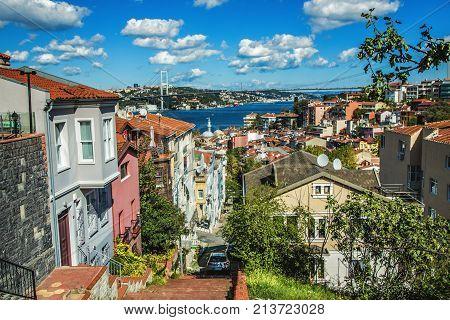 ISTANBUL TURKEY: Panoramic view of Bosphorus and Bosphorus Bridge from the hilltop of Kuzguncuk small district at the coastline of Bosphorus on October 10 2017