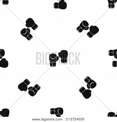 Boxing gloves pattern repeat seamless in black color for any design. Vector geometric illustration