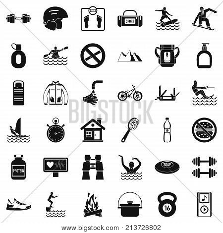 Sportsman icons set. Simple style of 36 sportsman vector icons for web isolated on white background