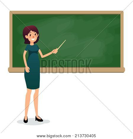 Cartoon flat women with pointer in the classroom near the blackboard is teaching a lesson. Yang female teacher at the university is giving a lecture. Flat teacher on lesson showing on board. Empty space for text