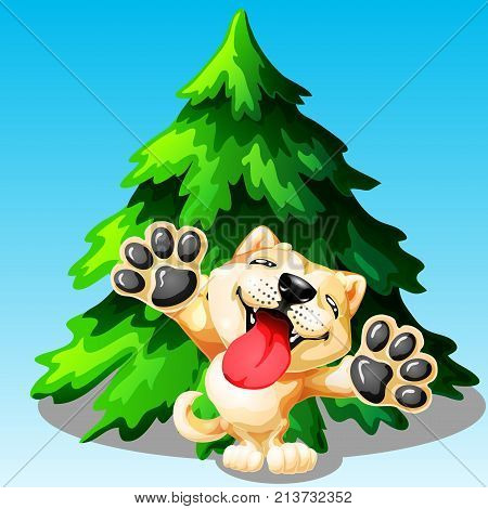 The lovely puppy Akita Inu on hinder legs and green fir tree on blue. A yellow dog a symbol 2018 new years according to the Chinese calendar. A colorfull vector illustration.