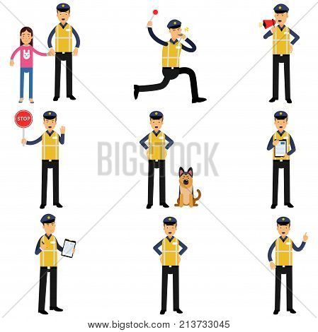 Cartoon set of road policeman in different situations standing with service dog, running, showing stop sign. Police officer in uniform with high visibility vest. Isolated flat vector illustration.