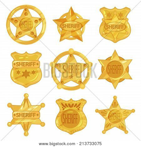 Collection of different sheriff s golden badges in flat design isolated on white background. Shiny police emblems in star and circle shapes. Policeman jetton. Cop token. Cartoon vector illustration.