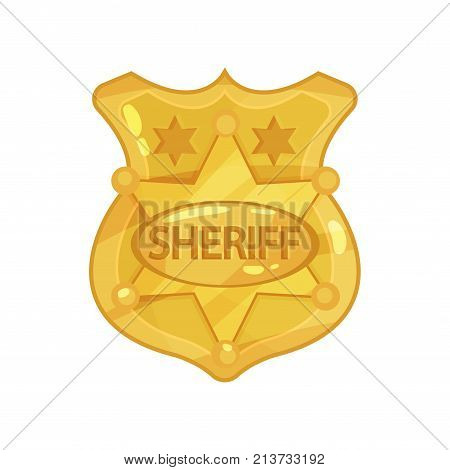 Golden cop s badge with stars and engraved word sheriff. Brass police officer jetton design. Public safety. Policeman symbol. Cartoon vector illustration in flat style isolated on white background.