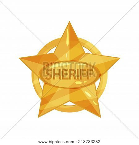 Clipart of sheriff s vintage golden star with circle and inscription. Bright policeman badge. Police icon in cartoon style. Public safety. Flat design vector illustration isolated on white background. poster